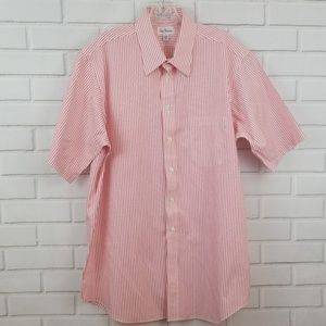 Paul Frederick Striped Cotton Short Sleeve Shirt